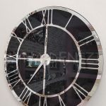Silver Black Model Gümüş Siyah Renk Dekoratif Aynalı Duvar Saati-9