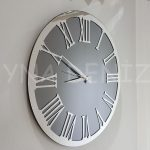 Silver Jet Smoked Model Gümüş Füme Renk Dekoratif Aynalı Duvar Saati-1