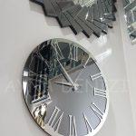 Silver Jet Smoked Model Gümüş Füme Renk Dekoratif Aynalı Duvar Saati-10