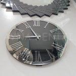 Silver Jet Smoked Model Gümüş Füme Renk Dekoratif Aynalı Duvar Saati-11