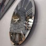 Silver Jet Smoked Model Gümüş Füme Renk Dekoratif Aynalı Duvar Saati-3