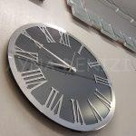 Silver Jet Smoked Model Gümüş Füme Renk Dekoratif Aynalı Duvar Saati-4