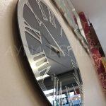 Silver Jet Smoked Model Gümüş Füme Renk Dekoratif Aynalı Duvar Saati-5