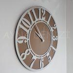 Silver Latin Bronze Model Gümüş Bronz Renk Dekoratif Aynalı Duvar Saati-12