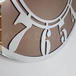 Silver Latin Bronze Model Gümüş Bronz Renk Dekoratif Aynalı Duvar Saati-18
