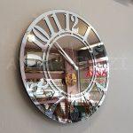 Silver Latin Bronze Model Gümüş Bronz Renk Dekoratif Aynalı Duvar Saati-4