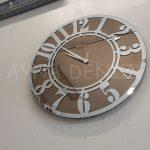 Silver Latin Bronze Model Gümüş Bronz Renk Dekoratif Aynalı Duvar Saati-5