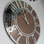 Silver Latin Bronze Model Gümüş Bronz Renk Dekoratif Aynalı Duvar Saati-7
