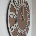 Silver Latin Bronze Model Gümüş Bronz Renk Dekoratif Aynalı Duvar Saati-8