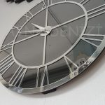 Silver Smoked Model Gümüş Füme Renk Dekoratif Aynalı Duvar Saati-10