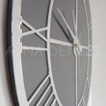 Silver Smoked Model Gümüş Füme Renk Dekoratif Aynalı Duvar Saati-11