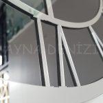 Silver Smoked Model Gümüş Füme Renk Dekoratif Aynalı Duvar Saati-14