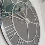 Silver Smoked Model Gümüş Füme Renk Dekoratif Aynalı Duvar Saati-18