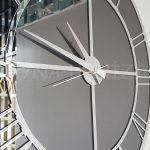 Silver Smoked Model Gümüş Füme Renk Dekoratif Aynalı Duvar Saati-19