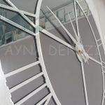 Silver Smoked Model Gümüş Füme Renk Dekoratif Aynalı Duvar Saati-20