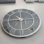 Silver Smoked Model Gümüş Füme Renk Dekoratif Aynalı Duvar Saati-4