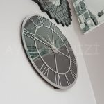 Silver Smoked Model Gümüş Füme Renk Dekoratif Aynalı Duvar Saati-6
