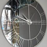 Silver Smoked Model Gümüş Füme Renk Dekoratif Aynalı Duvar Saati-7