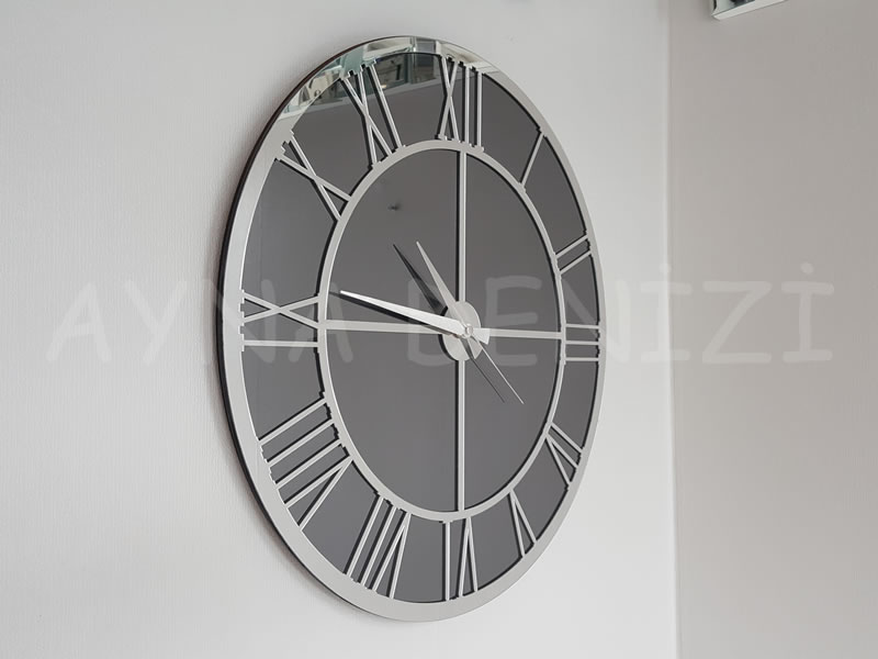 Silver Smoked Model Gümüş Füme Renk Dekoratif Aynalı Duvar Saati