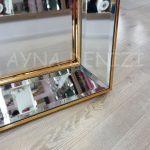 Ayna Çerçeveli Model Altın Renk Ayaklı Boy Aynası-12