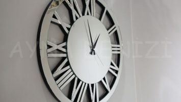 Circle Silver Model Gümüş Renk Dekoratif Aynalı Duvar Saati
