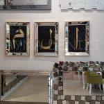 Elif Lam Mim Yazılı Model Altın Renk Ayna Çerçeveli Üçlü Tablo-10