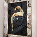 Elif Lam Mim Yazılı Model Altın Renk Ayna Çerçeveli Üçlü Tablo-15