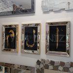 Elif Lam Mim Yazılı Model Altın Renk Ayna Çerçeveli Üçlü Tablo-4
