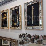Elif Lam Mim Yazılı Model Altın Renk Ayna Çerçeveli Üçlü Tablo-5