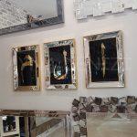 Elif Lam Mim Yazılı Model Altın Renk Ayna Çerçeveli Üçlü Tablo-6