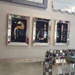 Elif Lam Mim Yazılı Model Altın Renk Ayna Çerçeveli Üçlü Tablo-7