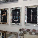 Elif Lam Mim Yazılı Model Gümüş Renk Ayna Çerçeveli Üçlü Tablo-1