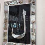 Elif Lam Mim Yazılı Model Gümüş Renk Ayna Çerçeveli Üçlü Tablo-12