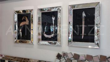 Elif Lam Mim Yazılı Model Gümüş Renk Ayna Çerçeveli Üçlü Tablo