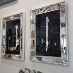 Elif Lam Mim Yazılı Model Gümüş Renk Ayna Çerçeveli Üçlü Tablo-6