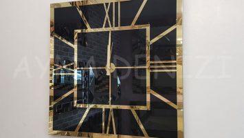 Golden Quare Black Model Altın Siyah Renk Dekoratif Aynalı Duvar Saati