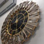 Güneş Gold Black Model Altın Siyah Renk Dekoratif Aynalı Duvar Saati-3