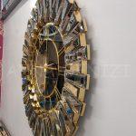 Güneş Gold Black Model Altın Siyah Renk Dekoratif Aynalı Duvar Saati-6