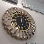 Güneş Golden Jet Black Model Altın Siyah Renk Dekoratif Aynalı Duvar Saati-4