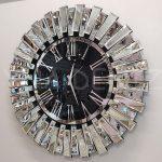 Güneş Silver Jet Black Model Gümüş Siyah Renk Dekoratif Aynalı Duvar Saati-1