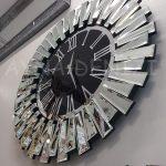 Güneş Silver Jet Black Model Gümüş Siyah Renk Dekoratif Aynalı Duvar Saati-3
