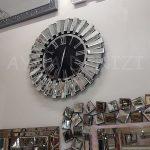 Güneş Silver Jet Black Model Gümüş Siyah Renk Dekoratif Aynalı Duvar Saati-4