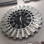 Güneş Silver Jet Black Model Gümüş Siyah Renk Dekoratif Aynalı Duvar Saati-6