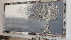 Luna Model Mozaik Aynalı Gri Renk Ayna Çerçeveli Ağaç Tablo