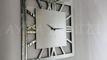 Square Silver Model Gümüş Renk Dekoratif Aynalı Duvar Saati