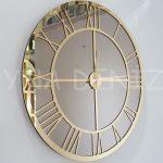 Gold Bronze Model Altın Bronz Renk Dekoratif Aynalı Duvar Saati-1