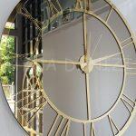 Gold Bronze Model Altın Bronz Renk Dekoratif Aynalı Duvar Saati-10