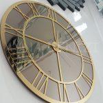 Gold Bronze Model Altın Bronz Renk Dekoratif Aynalı Duvar Saati-11