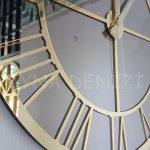 Gold Bronze Model Altın Bronz Renk Dekoratif Aynalı Duvar Saati-14