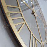 Gold Bronze Model Altın Bronz Renk Dekoratif Aynalı Duvar Saati-15
